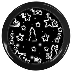 Black And White Xmas Wall Clocks (black) by Valentinaart