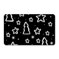 Black And White Xmas Magnet (rectangular) by Valentinaart