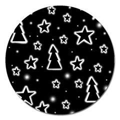 Black And White Xmas Magnet 5  (round) by Valentinaart