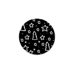 Black And White Xmas Golf Ball Marker by Valentinaart