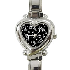 Black And White Xmas Heart Italian Charm Watch by Valentinaart