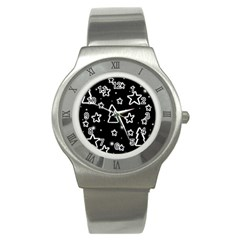 Black And White Xmas Stainless Steel Watch by Valentinaart