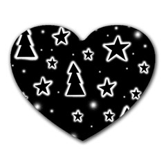 Black And White Xmas Heart Mousepads by Valentinaart