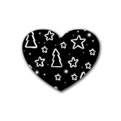 Black And White Xmas Rubber Coaster (heart)  by Valentinaart