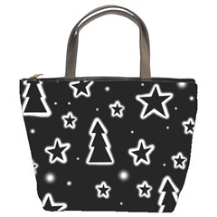 Black And White Xmas Bucket Bags by Valentinaart