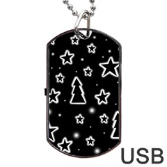 Black And White Xmas Dog Tag Usb Flash (two Sides)  by Valentinaart