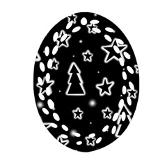 Black And White Xmas Oval Filigree Ornament (2 Side)  by Valentinaart