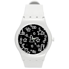 Black And White Xmas Round Plastic Sport Watch (m) by Valentinaart