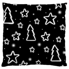 Black And White Xmas Large Cushion Case (one Side)