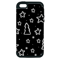 Black And White Xmas Apple Iphone 5 Hardshell Case (pc+silicone) by Valentinaart