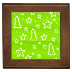 Green Christmas Framed Tiles by Valentinaart