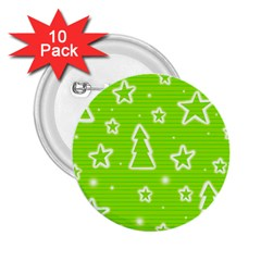 Green Christmas 2 25  Buttons (10 Pack)  by Valentinaart