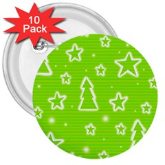 Green Christmas 3  Buttons (10 Pack)  by Valentinaart