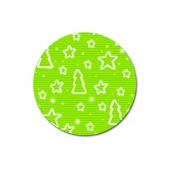 Green Christmas Magnet 3  (round) by Valentinaart