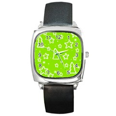 Green Christmas Square Metal Watch by Valentinaart