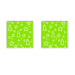 Green Christmas Cufflinks (square) by Valentinaart