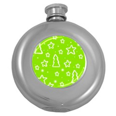 Green Christmas Round Hip Flask (5 Oz) by Valentinaart
