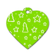 Green Christmas Dog Tag Heart (one Side) by Valentinaart