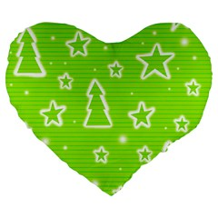 Green Christmas Large 19  Premium Flano Heart Shape Cushions