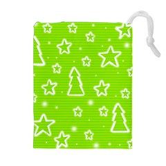 Green Christmas Drawstring Pouches (extra Large) by Valentinaart
