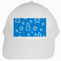 Blue Decorative Xmas Design White Cap by Valentinaart