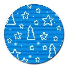 Blue Decorative Xmas Design Round Mousepads by Valentinaart