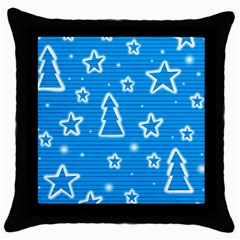 Blue Decorative Xmas Design Throw Pillow Case (black) by Valentinaart