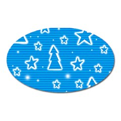 Blue Decorative Xmas Design Oval Magnet by Valentinaart