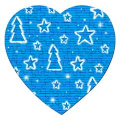 Blue Decorative Xmas Design Jigsaw Puzzle (heart) by Valentinaart