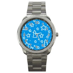 Blue Decorative Xmas Design Sport Metal Watch