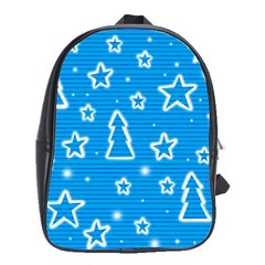 Blue Decorative Xmas Design School Bags(large)  by Valentinaart