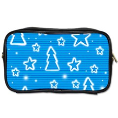Blue Decorative Xmas Design Toiletries Bags by Valentinaart