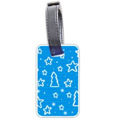 Blue Decorative Xmas Design Luggage Tags (one Side)