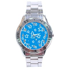 Blue Decorative Xmas Design Stainless Steel Analogue Watch by Valentinaart