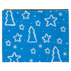 Blue Decorative Xmas Design Cosmetic Bag (xxxl)  by Valentinaart