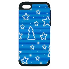 Blue Decorative Xmas Design Apple Iphone 5 Hardshell Case (pc+silicone) by Valentinaart