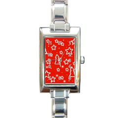 Red Xmas Rectangle Italian Charm Watch by Valentinaart