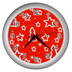 Red Xmas Wall Clocks (silver)  by Valentinaart