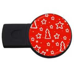 Red Xmas Usb Flash Drive Round (2 Gb)  by Valentinaart