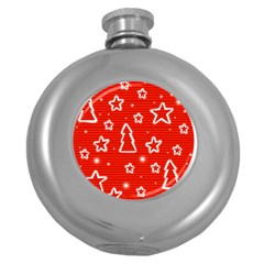Red Xmas Round Hip Flask (5 Oz) by Valentinaart