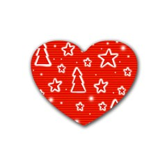 Red Xmas Rubber Coaster (heart)  by Valentinaart