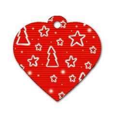 Red Xmas Dog Tag Heart (one Side) by Valentinaart