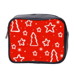 Red Xmas Mini Toiletries Bag 2 Side by Valentinaart
