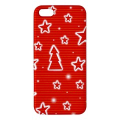 Red Xmas Apple Iphone 5 Premium Hardshell Case by Valentinaart