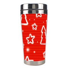 Red Xmas Stainless Steel Travel Tumblers by Valentinaart