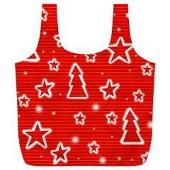 Red Xmas Full Print Recycle Bags (l)