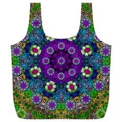 Colors And Flowers In A Mandala Full Print Recycle Bags (l)  by pepitasart