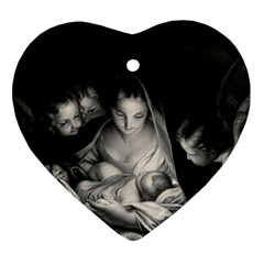 Nativity Scene Birth Of Jesus With Virgin Mary And Angels Black And White Litograph Ornament (heart)  by yoursparklingshop