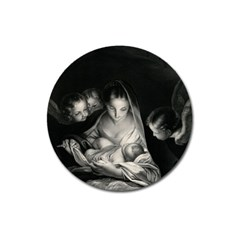 Nativity Scene Birth Of Jesus With Virgin Mary And Angels Black And White Litograph Magnet 3  (round) by yoursparklingshop