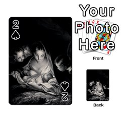 Nativity Scene Birth Of Jesus With Virgin Mary And Angels Black And White Litograph Playing Cards 54 Designs  by yoursparklingshop
